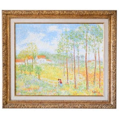 European Meadow Landscape Oil on Canvas