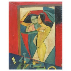 European Midcentury Cubist Painting 'Nude' by Koroly Glonczy, Hungary, 1957