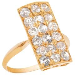 European Mine Cut Diamond Cocktail Ring