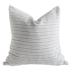 European Natural and Blue Gray Stripe Linen Pillow Cover