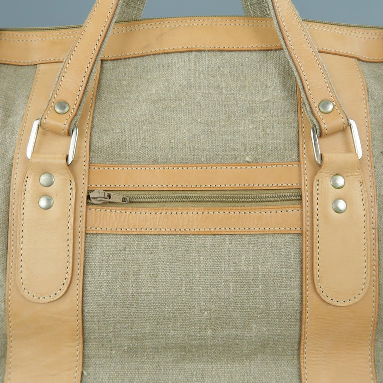 fae590aa8263 EUROPEN NATURAL LEATHER BAG of LOS ANGELES weekender travel bag comes in  gray textured canvas with