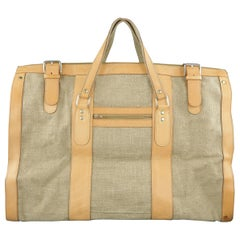 EUROPEAN NATURAL LEATHER BAGS Canvas & Leather Weekender Bag