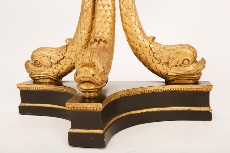 European Neoclassical Ebonized & Giltwood Carved Console with 3 Dolphin Supports For Sale 13