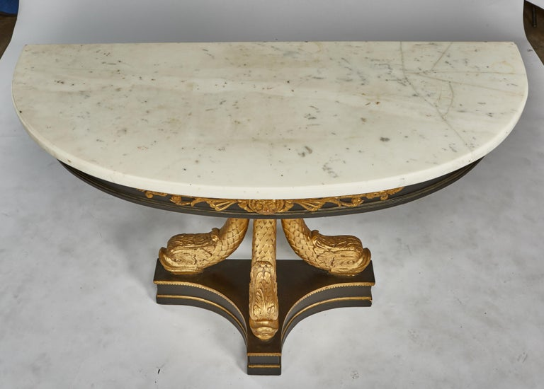 European Neoclassical Ebonized & Giltwood Carved Console with 3 Dolphin Supports In Good Condition For Sale In St. Louis, MO