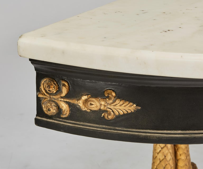 European Neoclassical Ebonized & Giltwood Carved Console with 3 Dolphin Supports For Sale 1