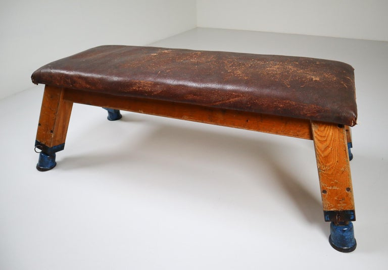 Dutch European Patinated Leather Gym Bench or Table, circa 1950s For Sale
