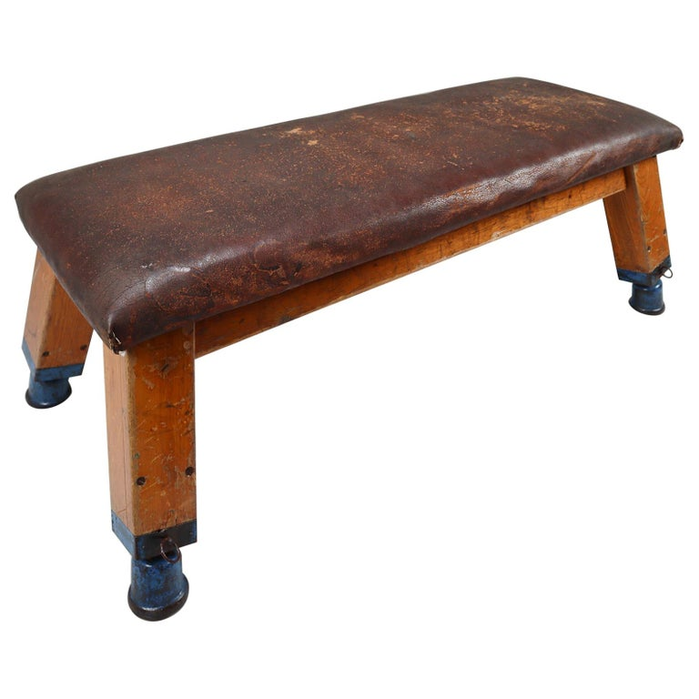 European Patinated Leather Gym Bench or Table, circa 1950s For Sale