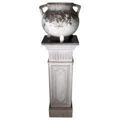 European Pedestal with Belgian Bluestone Top and Vintage Belgian Garden Planter