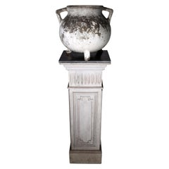 19th Century Wooden Pedestal and European Jardiniere