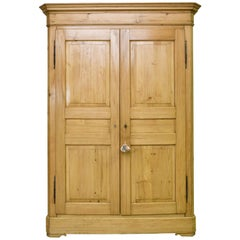 English Wardrobe in Light-Colored Pine with Paneled Doors, c. 1840