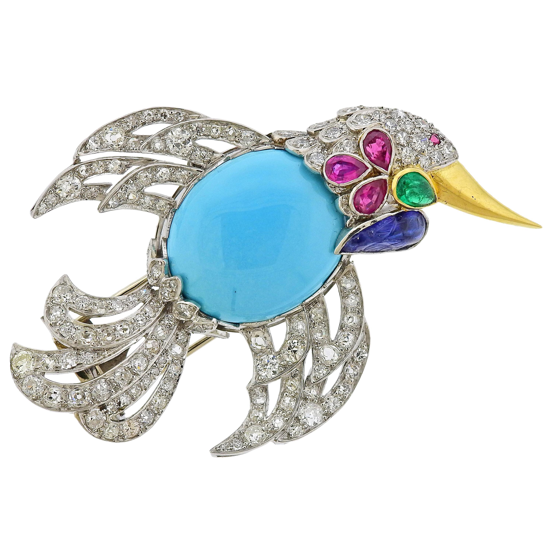 European Platinum Turquoise Ruby Diamond Bird Brooch Pin