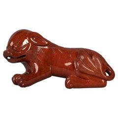European Red Jasper Figure of a Fantastic Foo Dog, 20th Century