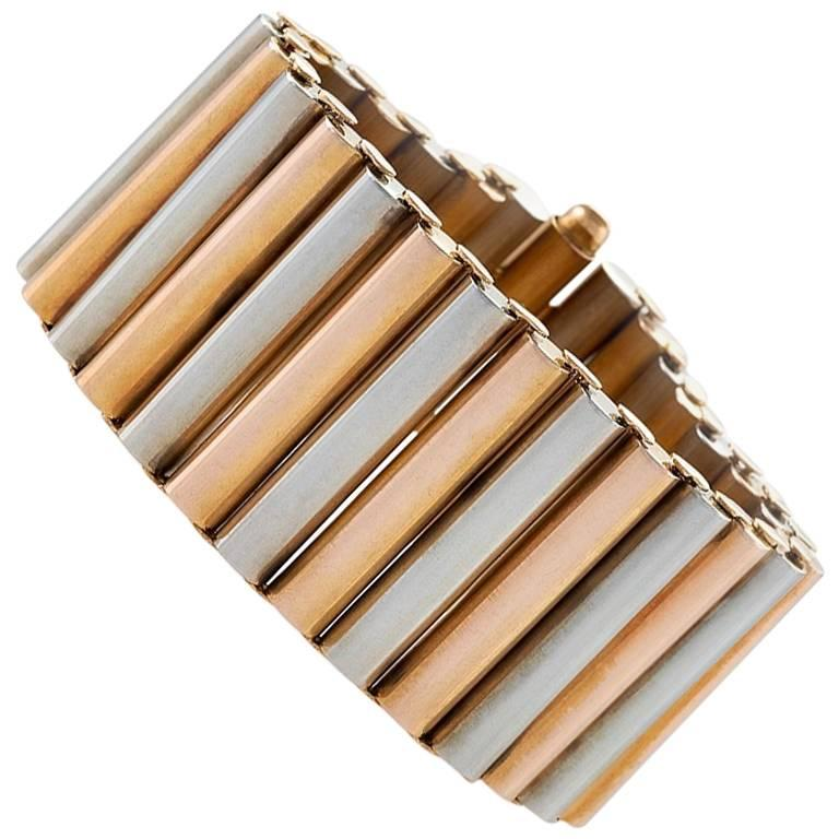 Bi-Color Gold Cylinder Bracelet