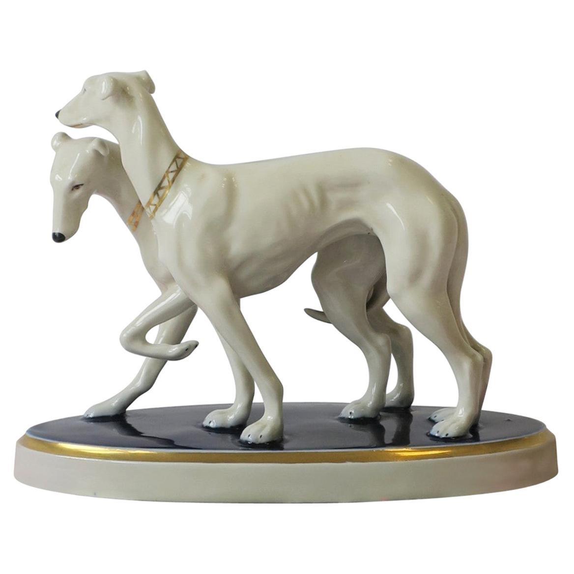 European Royal Dux Bohemia White Porcelain Greyhound Dogs Sculpture