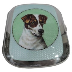 European Silver and Enameled Dog Case with Jack Russell Pup Portrait