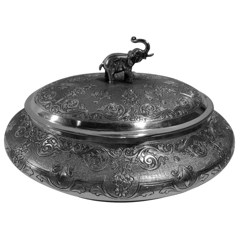 European Silver Keepsake Box with Elephant Finial For Sale