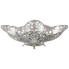 European Silversmith, Ornamental Silver Bowl on Feet, circa 1900