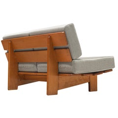 European Sofa Bench in Oak with Grey Upholstery, 1950s