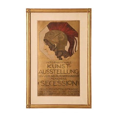 European Stone Lithographic German Poster by Franz Stuck Vintage