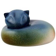 European Studio Ceramicist, Large Unique Figure of Lying Cat, 1980s