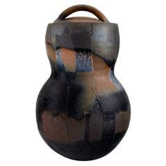 European Studio Ceramicist, Large Unique Lidded Jar in Glazed Stoneware