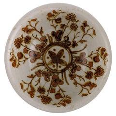 European Studio Ceramicist, Unique Bowl in Glazed Stoneware with Flowers, 1970s