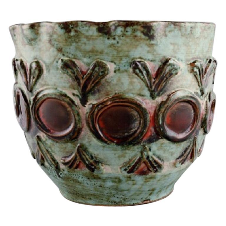 European Studio Ceramist, Flowerpot Cover in Glazed Ceramics, 1960s / 70s