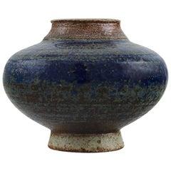 European Studio Ceramist, Small Unique Vase in Glazed Ceramics, 1960s-1970s