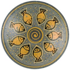 European Studio Ceramist, Unique Bowl in Glazed Ceramics Decorated with Fishes