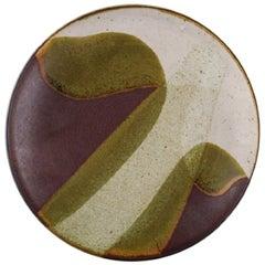 European Studio Ceramist, Unique Dish in Glazed Ceramics, Dated 1985