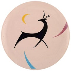European Studio Ceramist, Unique Dish in Glazed Ceramics with Deer, 1980s