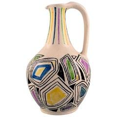 European Studio Ceramist, Unique Jug with Handle in Glazed Ceramic, Dated 1957