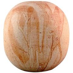 European Studio Ceramist, Unique Vase in Glazed Ceramics, Dated 1981