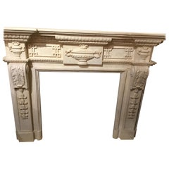 European-Style Cream Marble Hand Carved Mantel