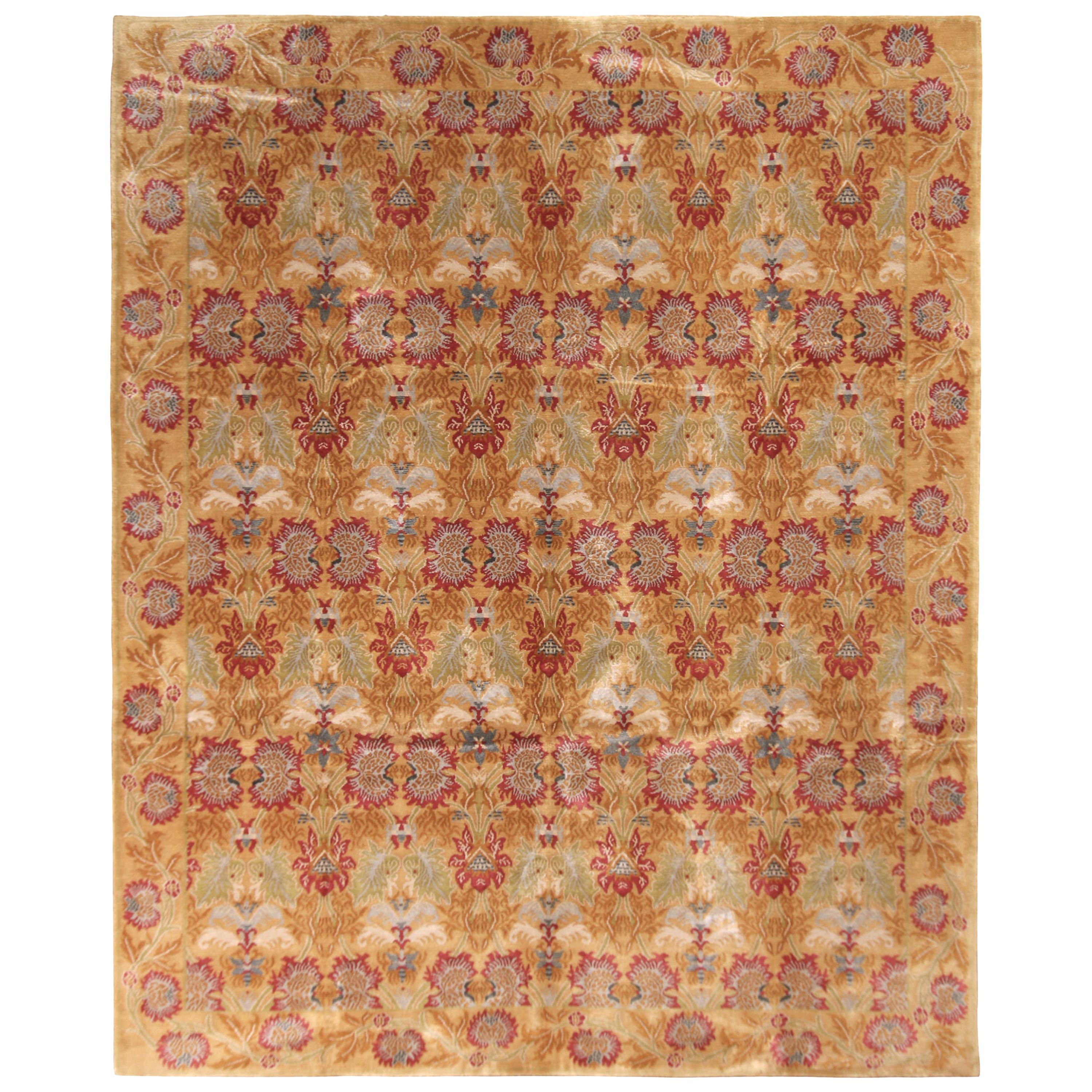 Rug & Kilim's European-Style Floral Rug Gold Red Wool and Silk Rug
