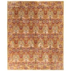 European-Style Floral Rug Gold Red Wool and Silk Rug by Rug & Kilim