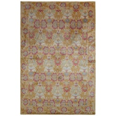 European Style Floral Rug in Gold and Red All-Over Pattern by Rug & Kilim