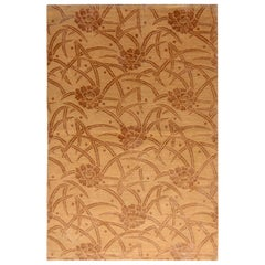European-Style Rug Beige Brown Floral Pattern by Rug & Kilim