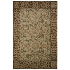 European Style Rug Beige-Brown Green Wool Silk Custom Floral by Rug & Kilim