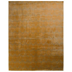 Rug & Kilim's European Style Transitional Rug in Gold Green All-Over Pattern