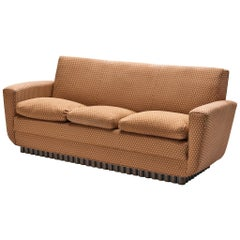 European Three-Seat Sofa with Carved Wooden Base