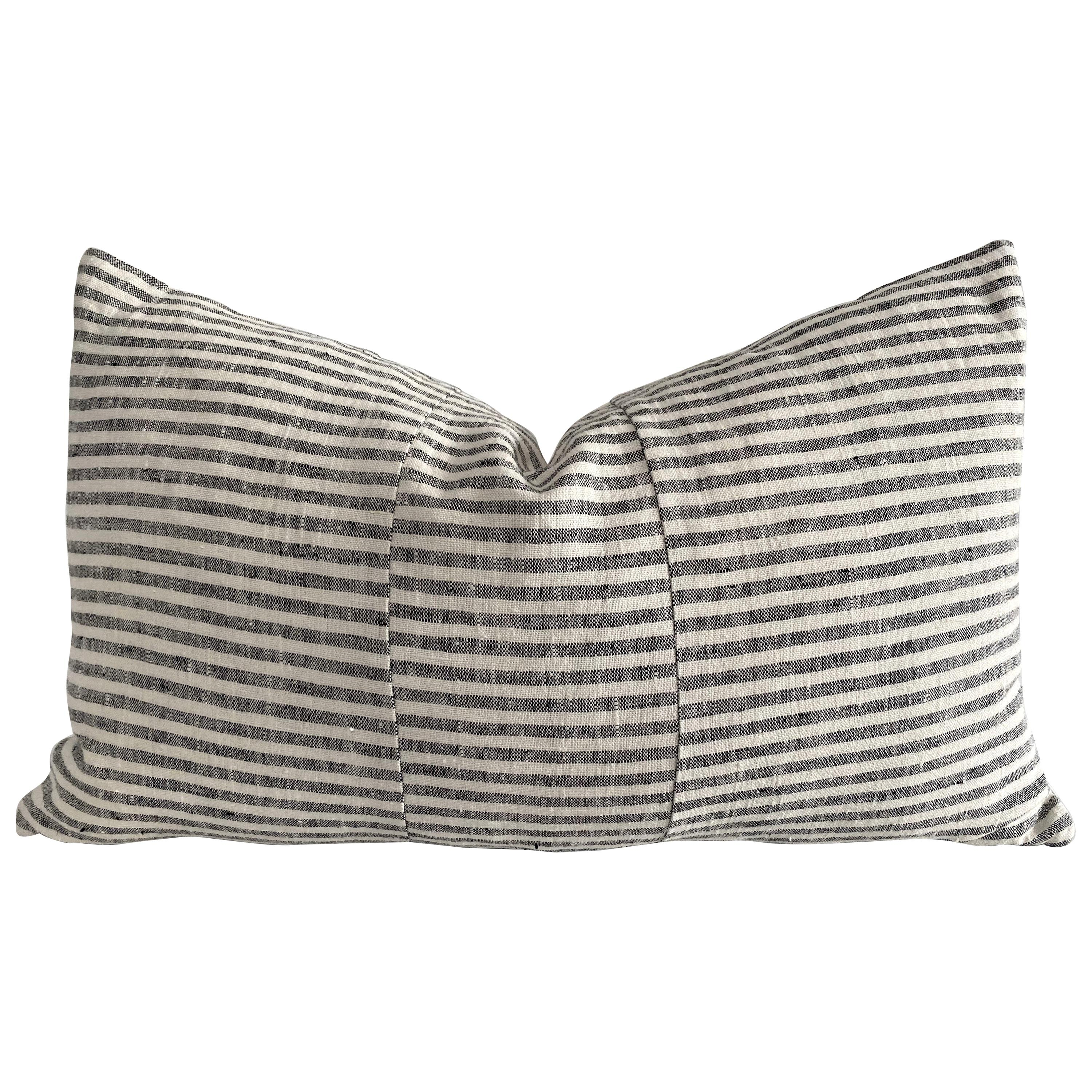 European Ticking Stripe Black Lumbar Pillow with Down Feather Insert
