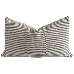 European Ticking Stripe Black Lumbar Pillow with Down Feather Insert