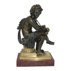 European Tour Bacchus Bronze Sculpture on Gilt and Rouge Royale Marble Base