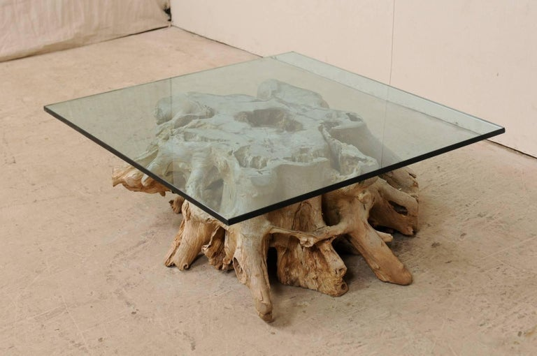 A Custom Glass Top & 19th C. European Natural Wood Tree Stump Base Coffee Table  For Sale 2