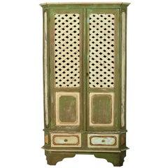 European Trelliage Painted Corner Wood Cabinet