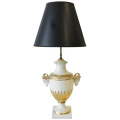European Urn Form Rams Head White and Gold Porcelain Table Lamp
