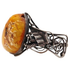Amber Cuff in Elaborate Art Nouveau Style Silver Setting
