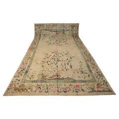 European Vintage Open Field Olive Green Wool Carpet, 1920-1950