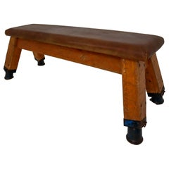 European Vintage Patinated Leather Gym Bench or Table, circa 1950s